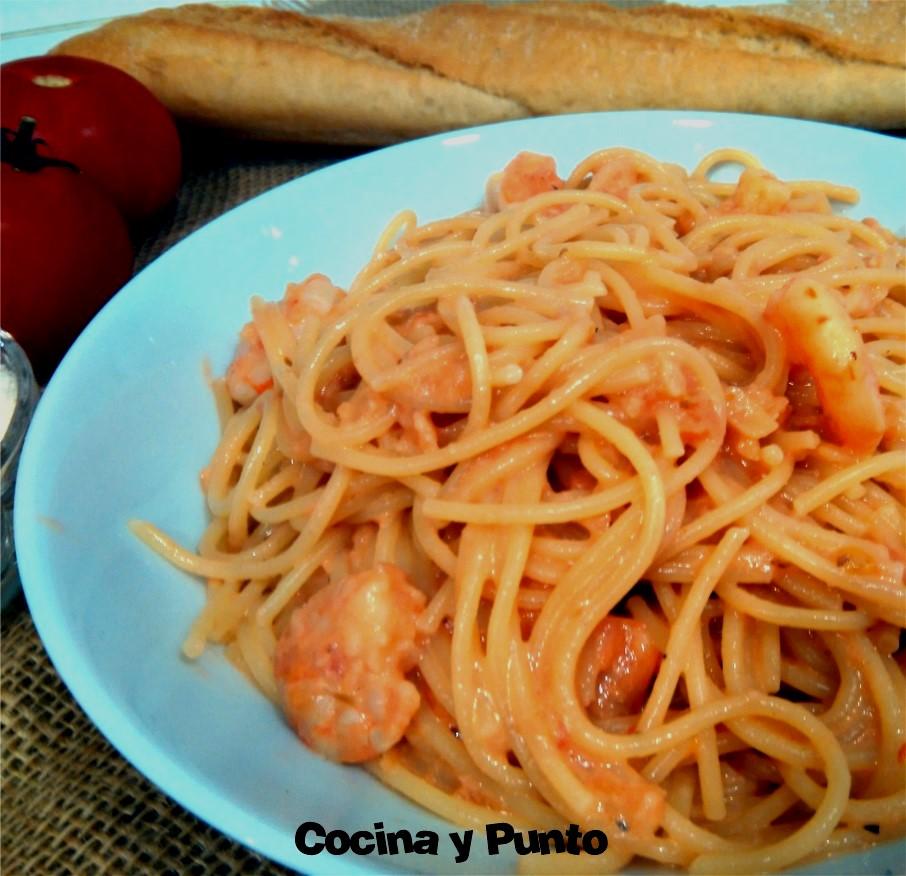 Espagueti con gambas cocina y punto - Espagueti con gambas y nata ...